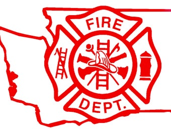 5.5 IN Washington State Firefighter Maltese Cross - in Red, Pink, or White