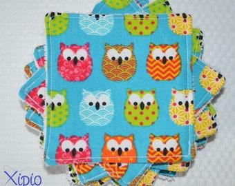 Set of 10 wipes - owls - zero waste