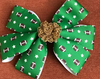 Football Hairbow with alligator clip