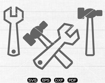 Wrench SVG Files, Spanner svg, Handyman svg, Hammer Clipart, cricut, cameo, silhouette cut files commercial & personal use