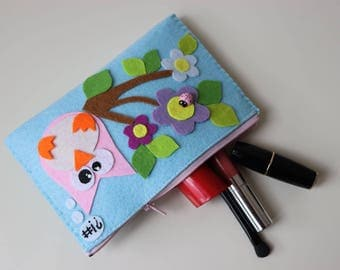 felt wallet, make-up organizers, jewelery bag, pencil case, purse owl&flowers personalized valentines day gift for her zipper clucth