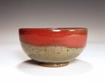 Red Bowl / Cereal Bowl / Gray Bowl / Speckled Ceramic Bowl / Stoneware Bowl / Wheel Thrown Bowl / Handmade Bowl