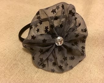 Sparkling  black/grey headband for girls,tulle headband