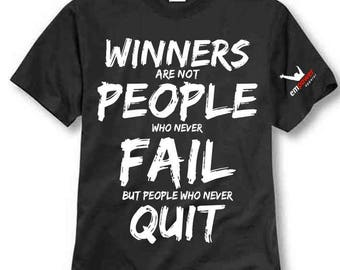 Winners Never Quit Unisex T Shirt with Free Self Help Ebook