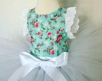 Baby blue romper and white tutu set, white tutu, baby tutu, baby floral romper, cakesmash outfit, tutu set, flower romper set, easter tutu