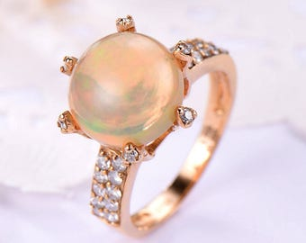 Opal Engagement Ring Round Cut Rose Gold 14k 18k CZ Cubic Zirconia Wedding Ring Sterling Silver Bridal Anniversary Gift Women Promise