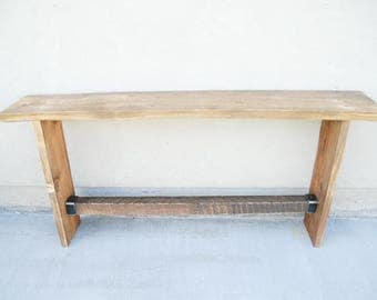 wood console table modern rustic locally sourced and wood end