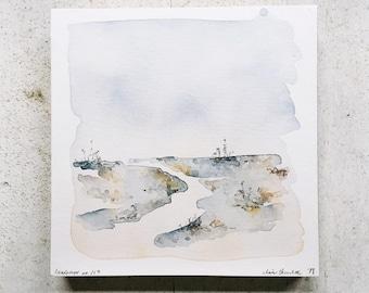 abstract landscape, minimal nature landscape, original watercolor, 6x6, landscape no. 119