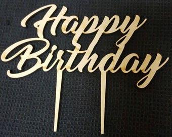 MDF Laser Cut Cake Topper  - Happy Birthday