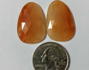Carnelian Rose cut slice Pair/fancy rose cut slice pair/Cabochon Slice/Natural Carnelian/Cabochon rose cut/Earring slice pair/loose gemstone
