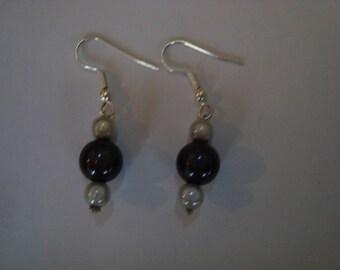 Earrings pearls magic black white grey