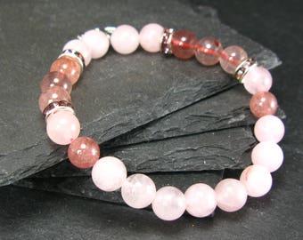 Rose Quartz & Strawberry Quartz Genuine Bracelet ~ 7 Inches  ~ 8mm Round Beads
