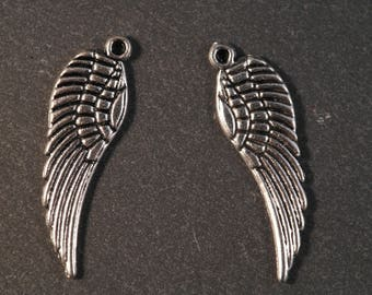 2 silver 30 mm Angel Wings feather charms