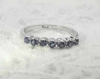 Sapphire Sterling Silver Stacking Eternity Ring/Free Shipping US/Vintage/Handmade/September Birthstone/Christmas/Birthday/Anniversary/Bridal
