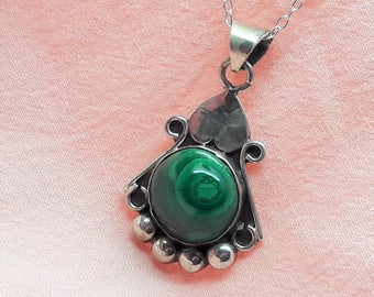 Malachite Sterling Silver Necklace 16 inch Sterling Silver chain/Vintage/Handmade/Free Shipping US/Christmas/Birthday/Valentine