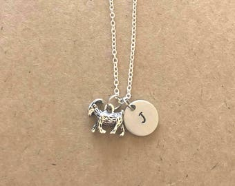 Goat Necklace with Initial, Personalized Goat Necklace, Goat Yoga Necklace
