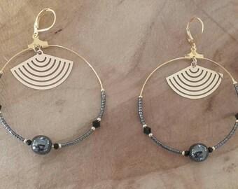 """Black """"LINA"""" brass hoop earring"""