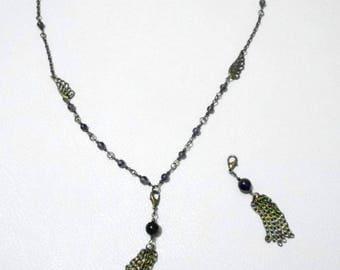 Amethyst angel wing and tassel jewelry headband