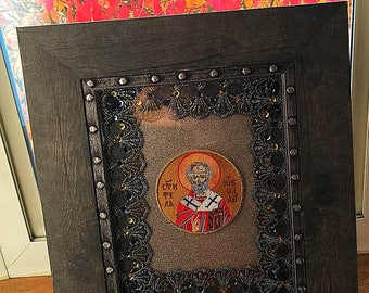 Sv Nikola | Slava icon | Embroidery art | Wood frame I Orthodox | Sv Jovan