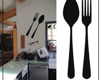 """Sticker kitchen """"Fork and spoon"""" for an original wall decoration in your kitchen!"""