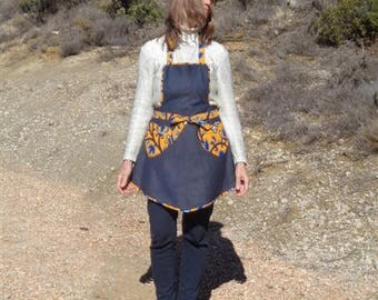 APRON RETRO heart shaped denim and wax