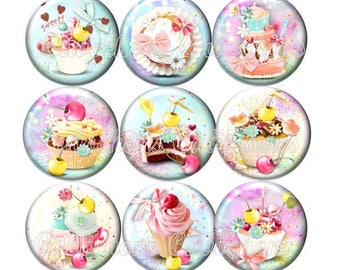 Set of 15 cabochons 16mm glass, cakes, ice cream, sweets, pastel tone ZC113