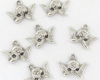 10 breloques anges métal argenté pour bijoux-bc088