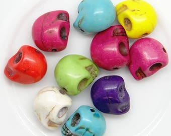 10 skull 12.5 mm ptdm001 mixed color acrylic beads