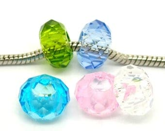 x 5 mixed faceted glass beads for charm bracelet 14 x 8 mm