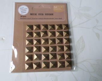 x 36 nail adhesive bronze metal color square shaped 10 mm