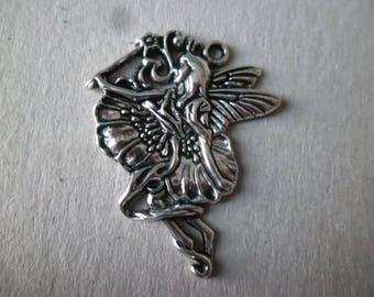 x 1 large pendant/charm shape fairy Silver 3.5 x 3 cm