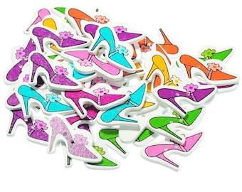 x 5 mixed wooden buttons shoes multicolor 2 holes 3.6 x 2.3 cm