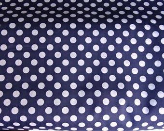 Fabric printed cotton 1 x blue dots pattern