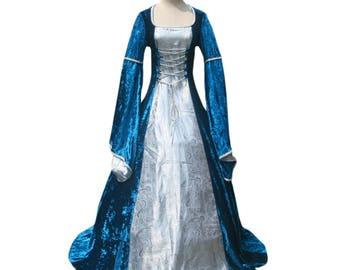 Blue Velvet Embossed Satin Renaissance Faire Medieval Tudor Princess Gown Dress Victorian Vintage Edwardian Vampire Halloween Costume