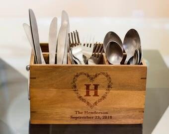 Family name Silverware Caddy, kitchen Utensil Holder,Personalize Kitchen Stuff, Picnic Caddy,kitchen tool holder, housewarming Gift