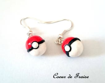 Pokeball Pokemon polymer clay earrings