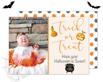 Happy Halloween Card, Printable Happy Halloween Card with Photo, Personalized Printable Halloween, Halloween Photo Card, Trick or Treat Card