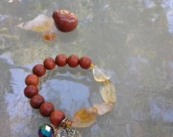 Citrine Elephant Charm Bracelet , Wooden Beads, Solar Plexus Chakra ,  Chakra Jewelry , Crystal Jewelry