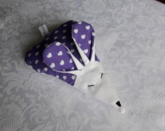 Gift scented, mouse fabric trimmed with lavender, white hearts on purple background