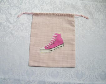 Little girl for kindergarten school cotton pink gingham with converse slippers bag pink applied