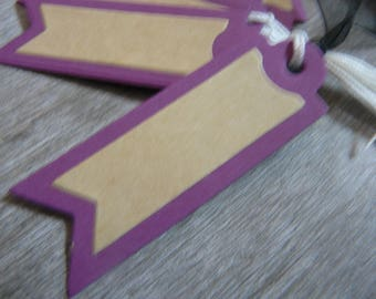 set of 20 tags, plum and kraft, vintage style, off white tie, wedding, baptism ceremony, gift