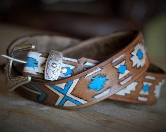 Southwestern Arrow Handmade Belt-Holiday-Gifts for Her-Christmas Idea-Stocking Stuffer-Birthday Gift for Her-Leather Anniversary-Handmade