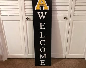 App State wooden Welcome Board