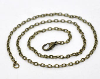 FIL37 - 2 chain 41cm for necklace or pendant, ready to assemble, bronze metal