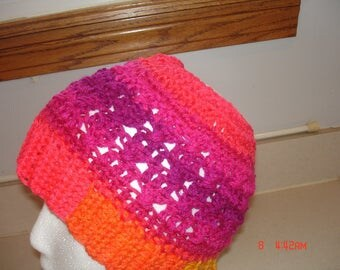 Crocheted ponytail messy bun hat