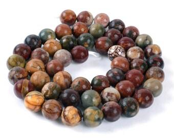 8 jaspes picasso de 8 mm perles pierre multicolore.