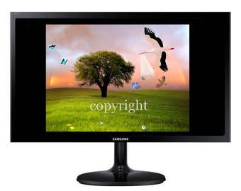 La Cigogne fond d'écran pour ipod ou ordinateur création unique sur le thème féerique.