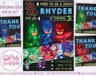 Pj Mask Birthday Invitation, Invitations, Pj Mask Invitation, Pj Mask Birthday Party, Pj Mask Party, DIY