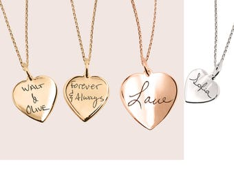 Actual Handwriting Heart Necklace Personalized Heart Charm Necklaces Personalize Necklace|Engraved Jewelry Silver Handwriting gift for MOM