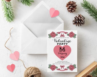 Valentines Heart Floral Invitations Valentine Day Party Digital Invitations Pink Flowers Roses Printed Invitations Pink Heart Dinner Invites